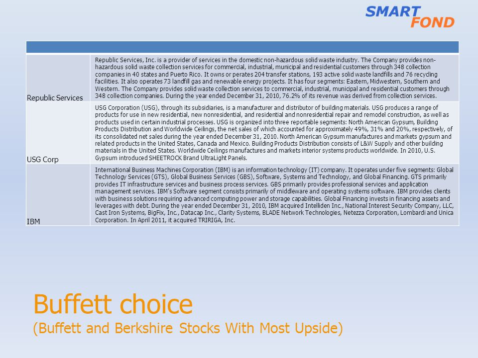 Buffett choice (Buffett and Berkshire Stocks With Most Upside) Republic Services Republic Services, Inc. is a provider of services in the domestic non