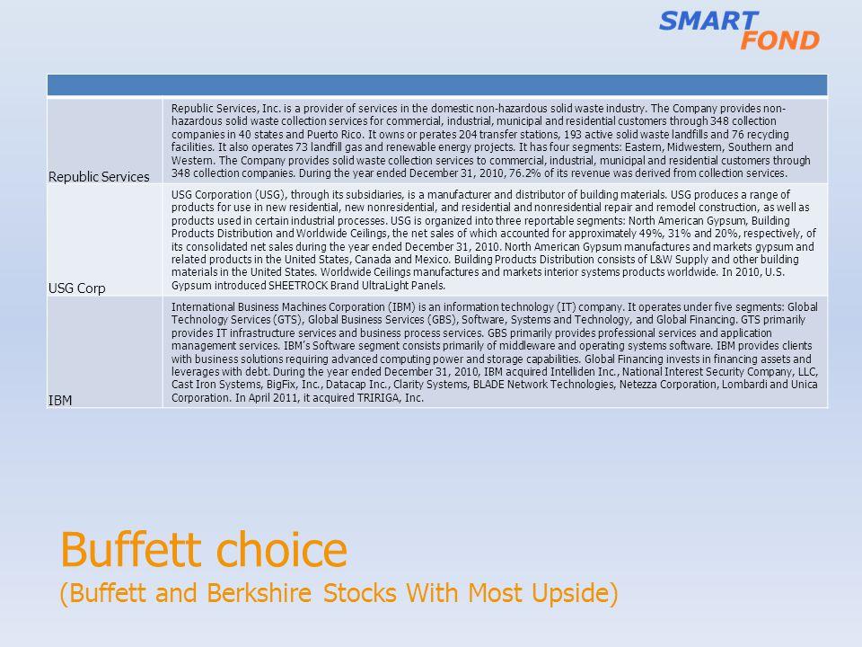 Buffett choice (Buffett and Berkshire Stocks With Most Upside) Republic Services Republic Services, Inc.