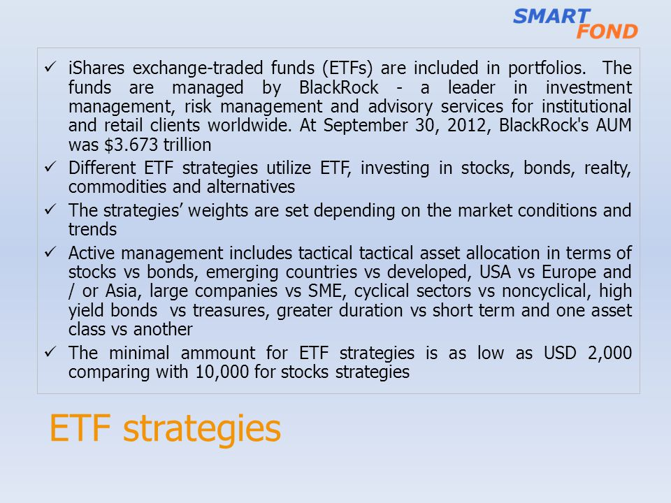 ETF strategies iShares exchange-traded funds (ETFs) are included in portfolios.
