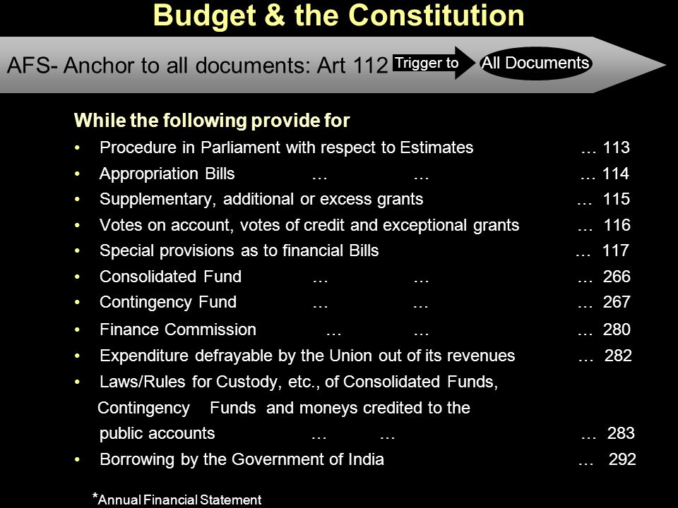 7 Budget & the Constitution While the following provide for Procedure in Parliament with respect to Estimates … 113 Appropriation Bills … … … 114 Supplementary, additional or excess grants … 115 Votes on account, votes of credit and exceptional grants … 116 Special provisions as to financial Bills … 117 Consolidated Fund …… … 266 Contingency Fund … … … 267 Finance Commission …… … 280 Expenditure defrayable by the Union out of its revenues … 282 Laws/Rules for Custody, etc., of Consolidated Funds, Contingency Funds and moneys credited to the public accounts … … … 283 Borrowing by the Government of India … 292 AFS- Anchor to all documents: Art 112 Trigger to All Documents * Annual Financial Statement