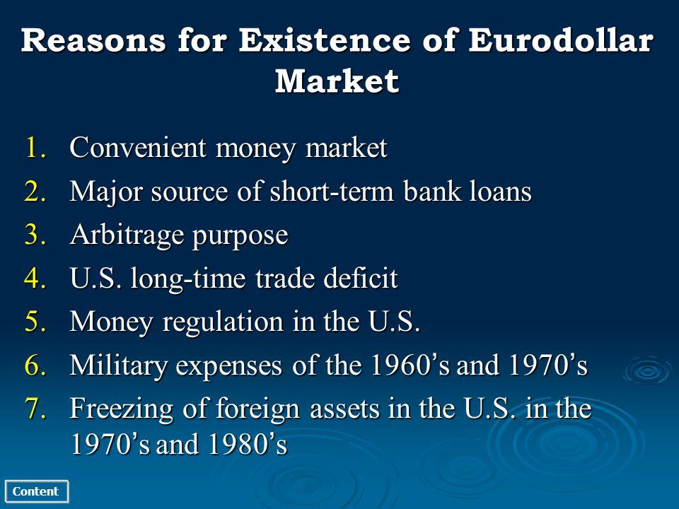 Content 1.Convenient money market 2.Major source of short-term bank loans 3.Arbitrage purpose 4.U.S.