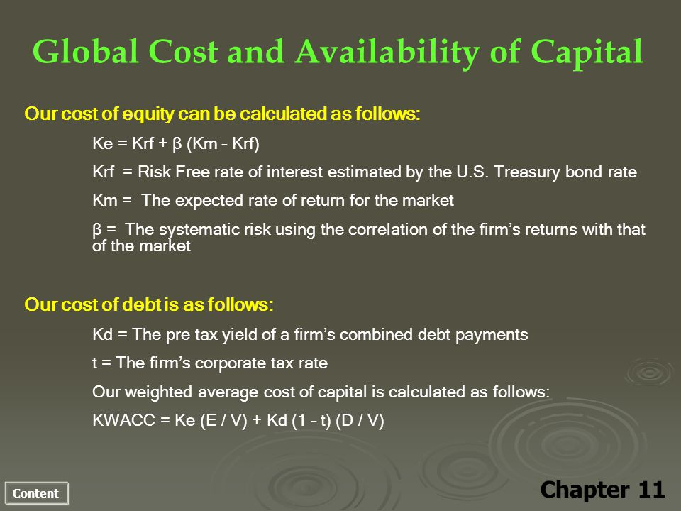 Content Global Cost and Availability of Capital Chapter 11 Our cost of equity can be calculated as follows: Ke = Krf + β (Km – Krf) Krf = Risk Free rate of interest estimated by the U.S.