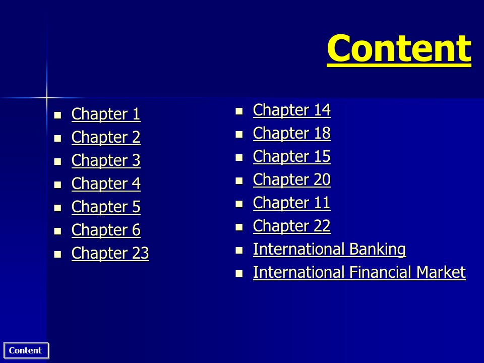 Content Chapter 2 International Monetary System (IMS) n n International Monetary Fund IMF n Mission: Rendering temporary assistance to currencies with cyclical, seasonal or random fluctuation.