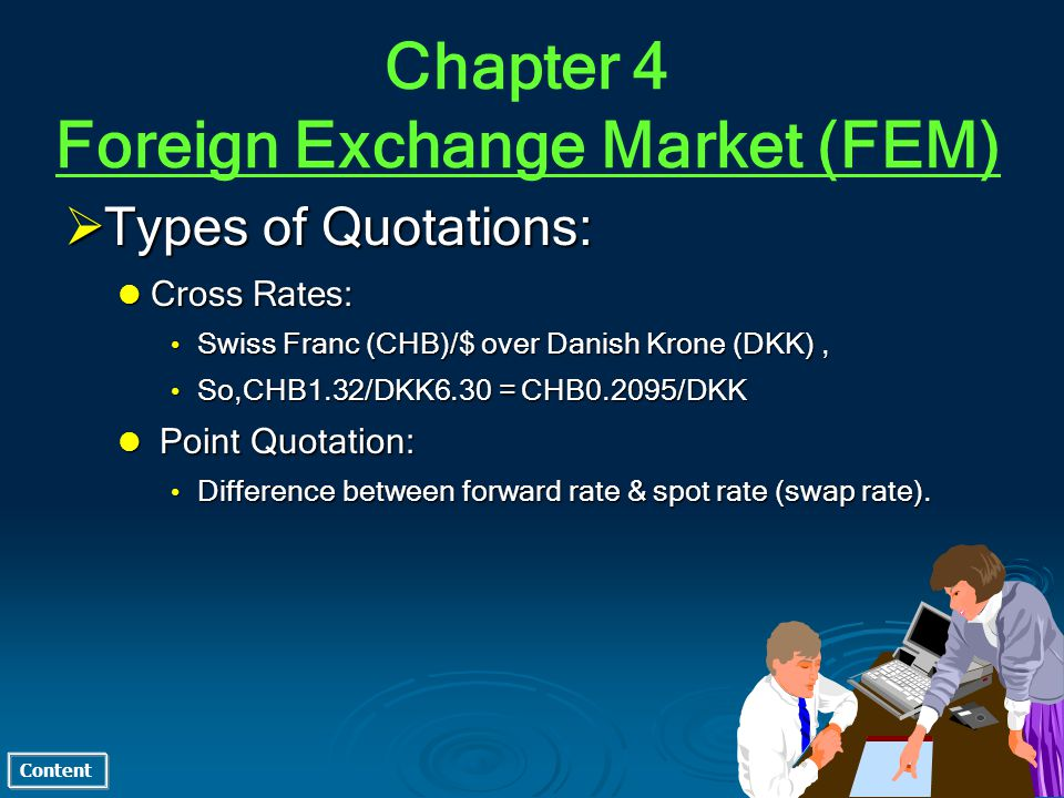 Content Types of Quotations: Types of Quotations: Cross Rates: Cross Rates: Swiss Franc (CHB)/$ over Danish Krone (DKK), Swiss Franc (CHB)/$ over Dani