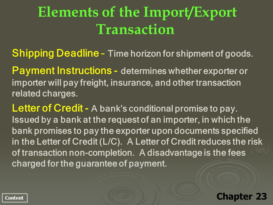Content Elements of the Import/Export Transaction Chapter 23 Shipping Deadline – Time horizon for shipment of goods.