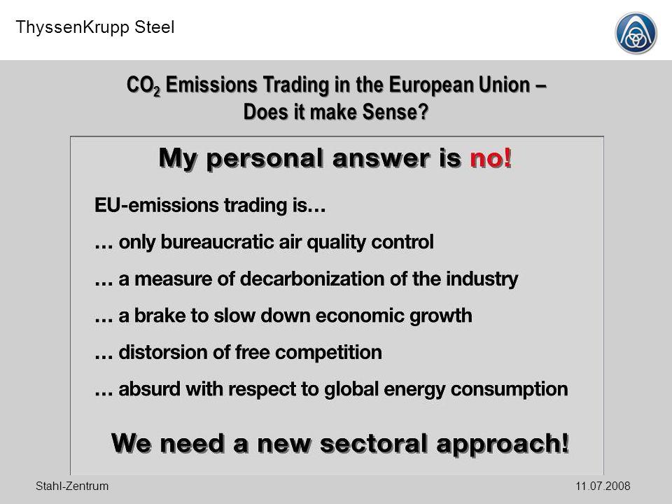 ThyssenKrupp Steel Stahl-Zentrum11.07.2008 CO 2 Emissions Trading in the European Union – Does it make Sense?