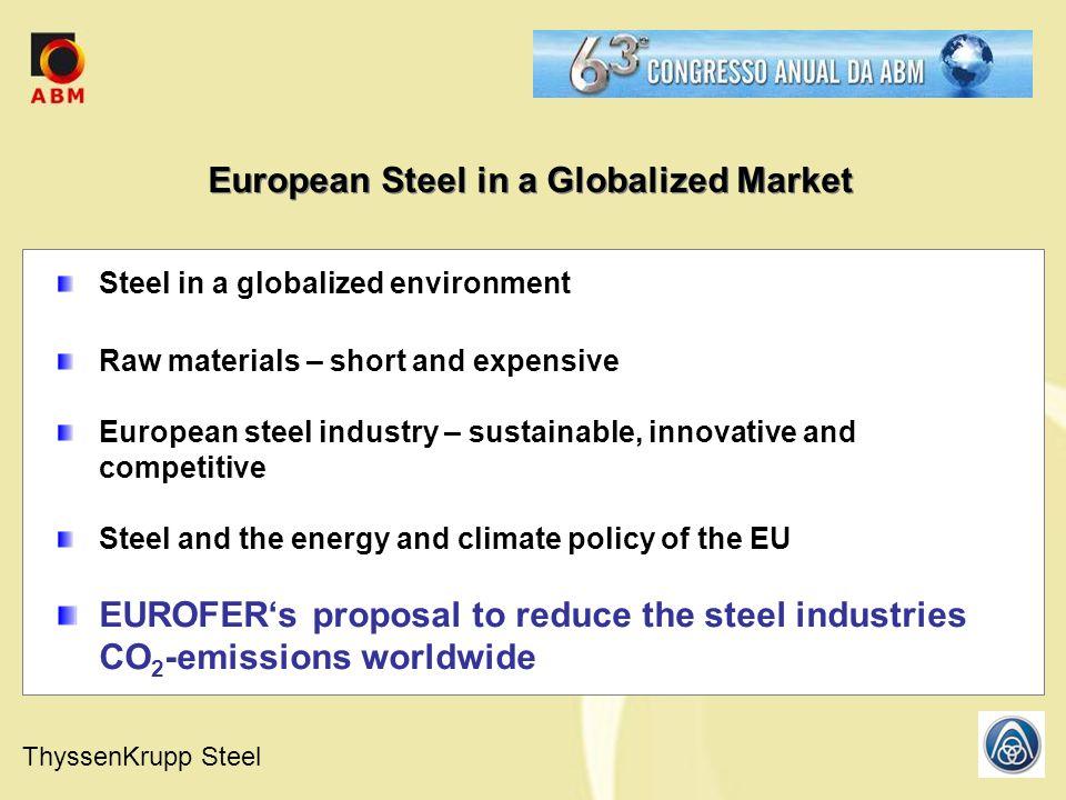 ThyssenKrupp Steel European Steel in a Globalized Market Steel in a globalized environment Raw materials – short and expensive European steel industry