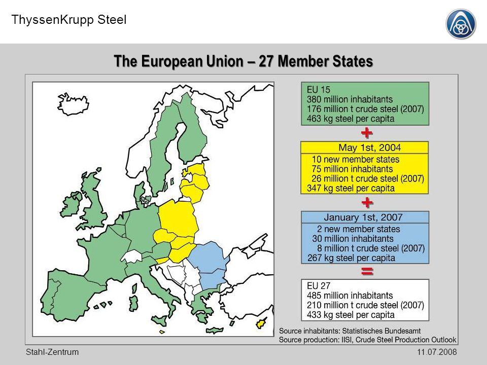 ThyssenKrupp Steel Stahl-Zentrum11.07.2008 The European Union – 27 Member States