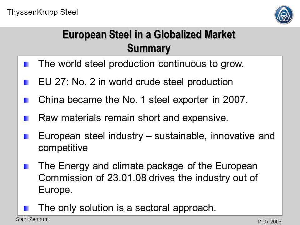 ThyssenKrupp Steel Stahl-Zentrum 11.07.2008 European Steel in a Globalized Market Summary European Steel in a Globalized Market Summary The world stee