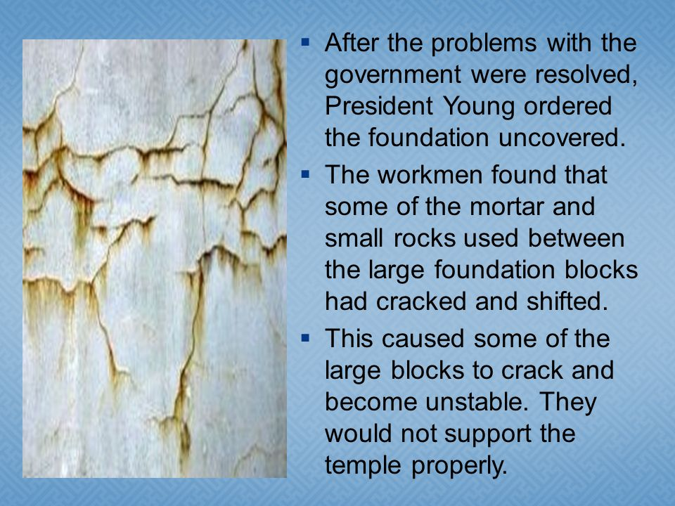 In May 1858 work on the temple was stopped for a time because of problems with the United States government.