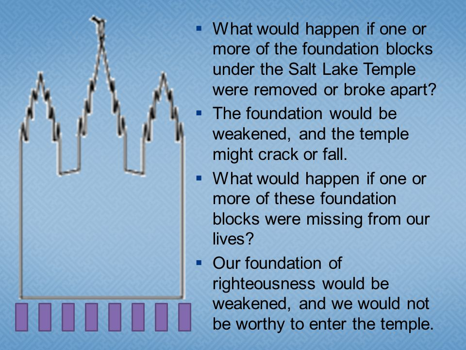 What would happen if one or more of the foundation blocks under the Salt Lake Temple were removed or broke apart.