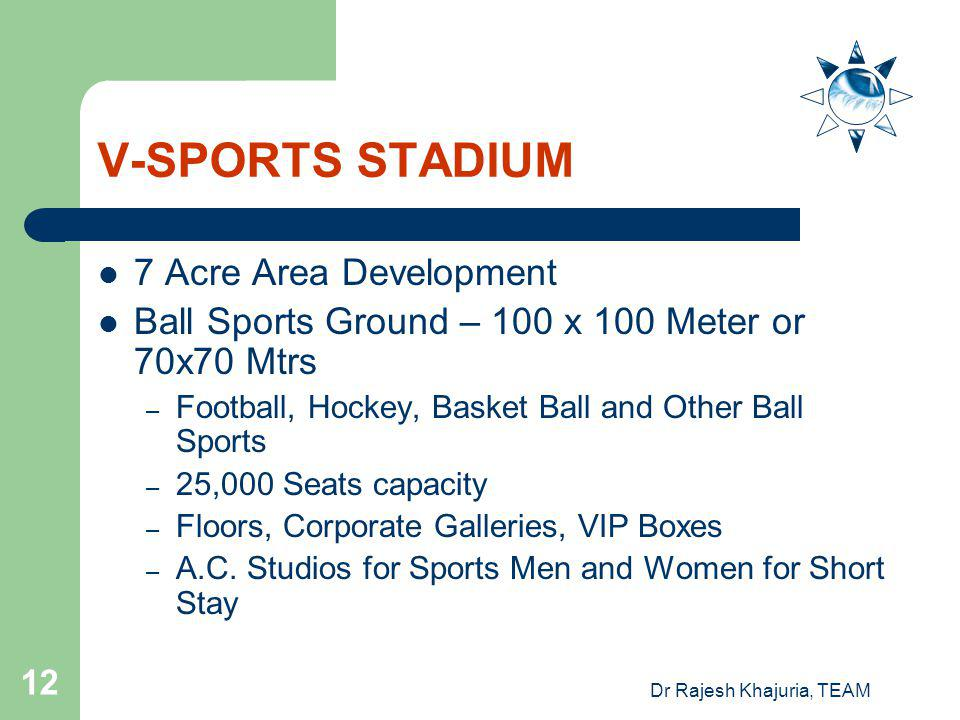 Dr Rajesh Khajuria, TEAM 12 V-SPORTS STADIUM 7 Acre Area Development Ball Sports Ground – 100 x 100 Meter or 70x70 Mtrs – Football, Hockey, Basket Ball and Other Ball Sports – 25,000 Seats capacity – Floors, Corporate Galleries, VIP Boxes – A.C.