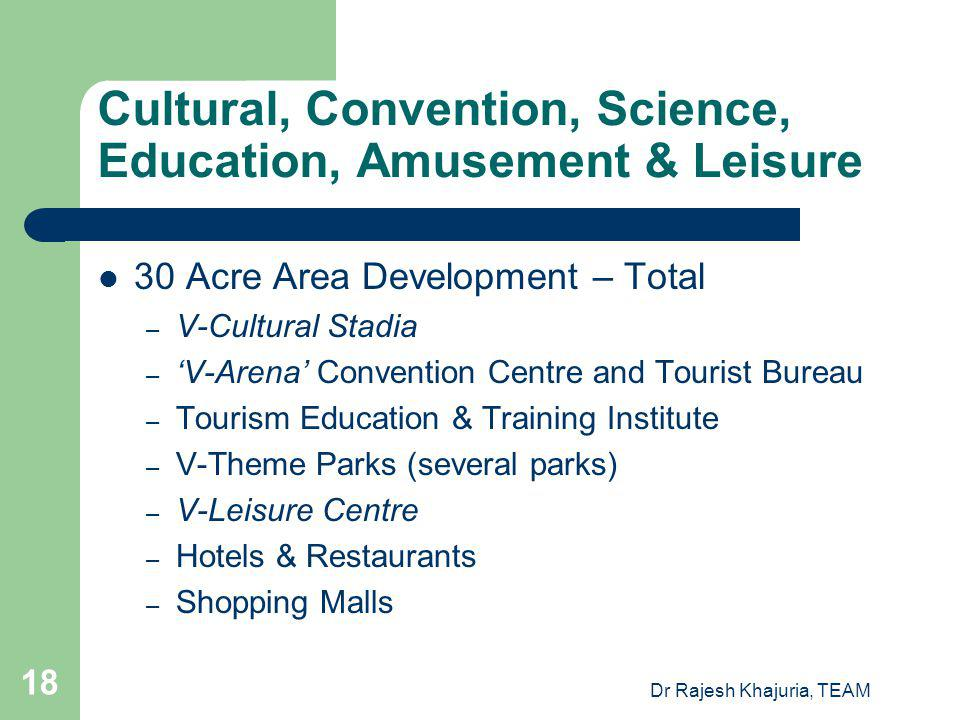 Dr Rajesh Khajuria, TEAM 18 Cultural, Convention, Science, Education, Amusement & Leisure 30 Acre Area Development – Total – V-Cultural Stadia – V-Arena Convention Centre and Tourist Bureau – Tourism Education & Training Institute – V-Theme Parks (several parks) – V-Leisure Centre – Hotels & Restaurants – Shopping Malls