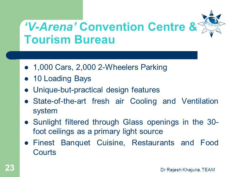 Dr Rajesh Khajuria, TEAM 23 V-Arena Convention Centre & Tourism Bureau 1,000 Cars, 2,000 2-Wheelers Parking 10 Loading Bays Unique-but-practical design features State-of-the-art fresh air Cooling and Ventilation system Sunlight filtered through Glass openings in the 30- foot ceilings as a primary light source Finest Banquet Cuisine, Restaurants and Food Courts