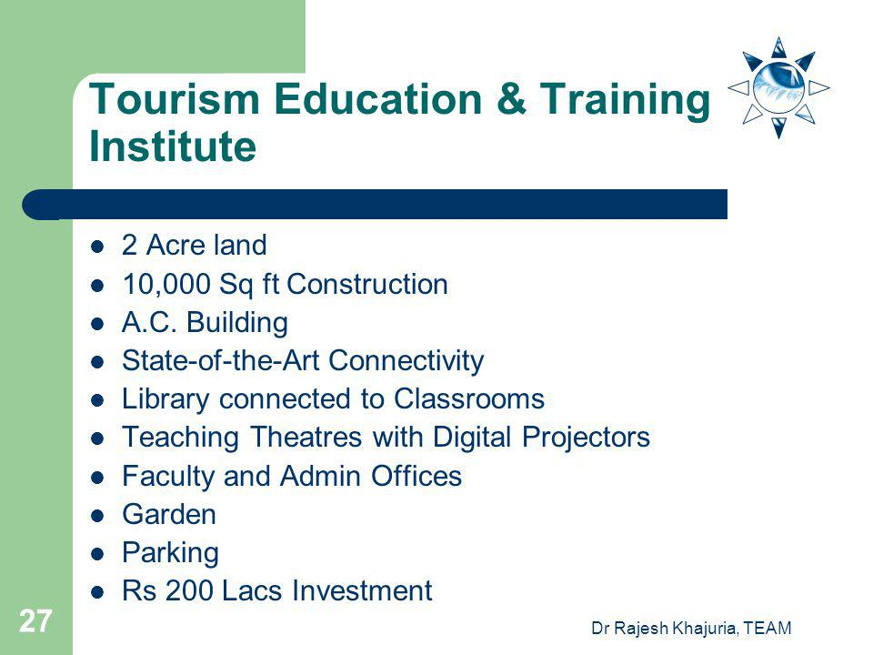 Dr Rajesh Khajuria, TEAM 27 Tourism Education & Training Institute 2 Acre land 10,000 Sq ft Construction A.C.