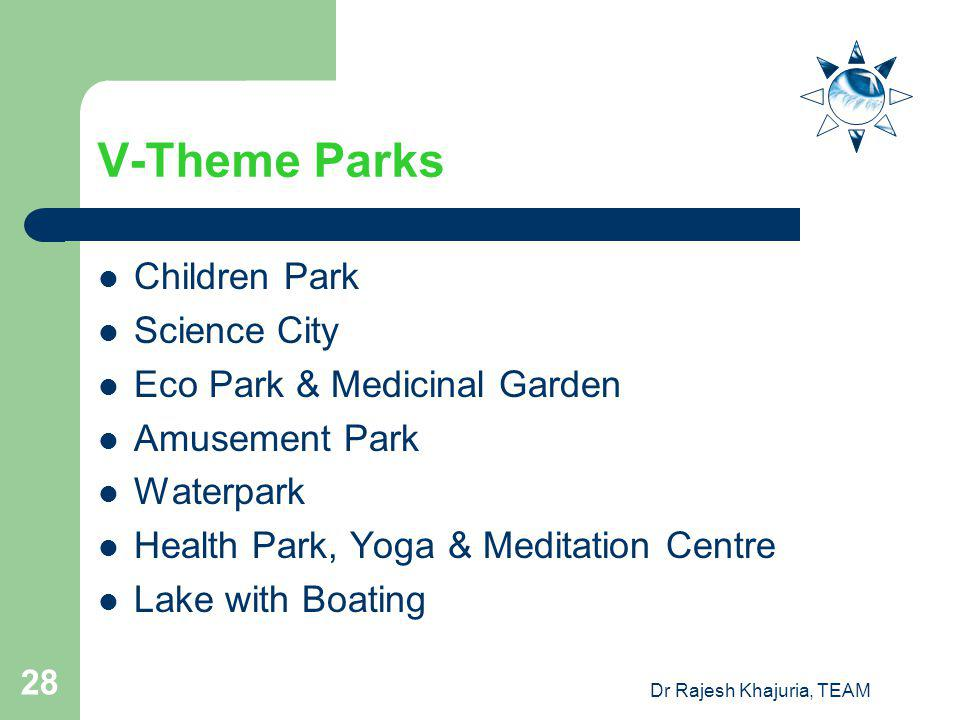 Dr Rajesh Khajuria, TEAM 28 V-Theme Parks Children Park Science City Eco Park & Medicinal Garden Amusement Park Waterpark Health Park, Yoga & Meditation Centre Lake with Boating