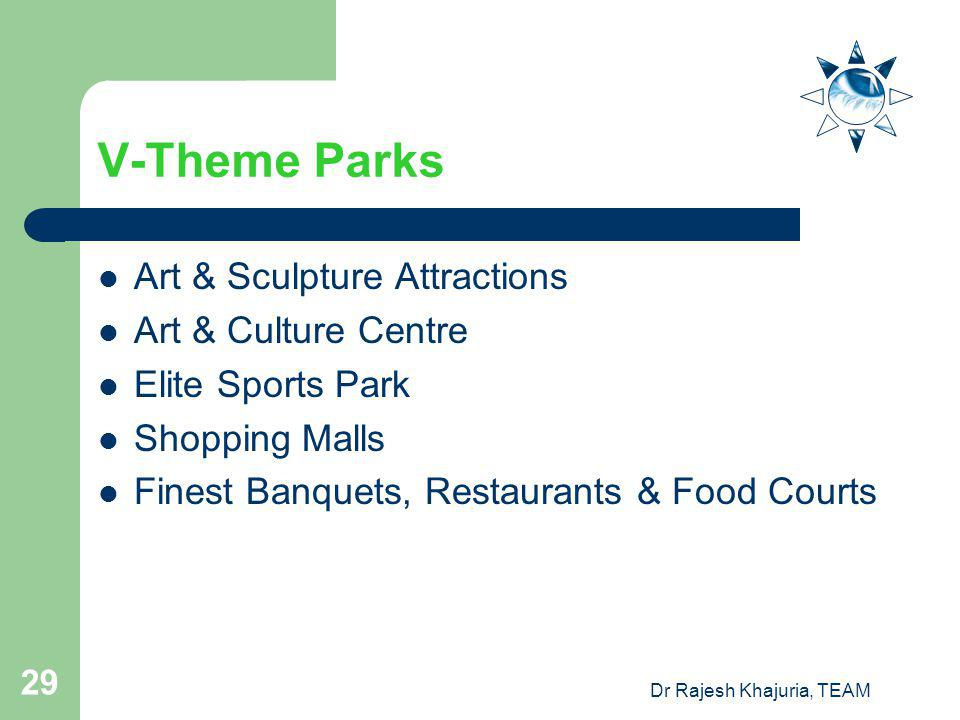 Dr Rajesh Khajuria, TEAM 29 V-Theme Parks Art & Sculpture Attractions Art & Culture Centre Elite Sports Park Shopping Malls Finest Banquets, Restaurants & Food Courts