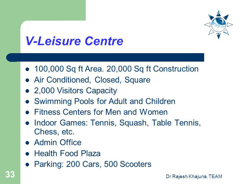 Dr Rajesh Khajuria, TEAM 33 V-Leisure Centre 100,000 Sq ft Area.