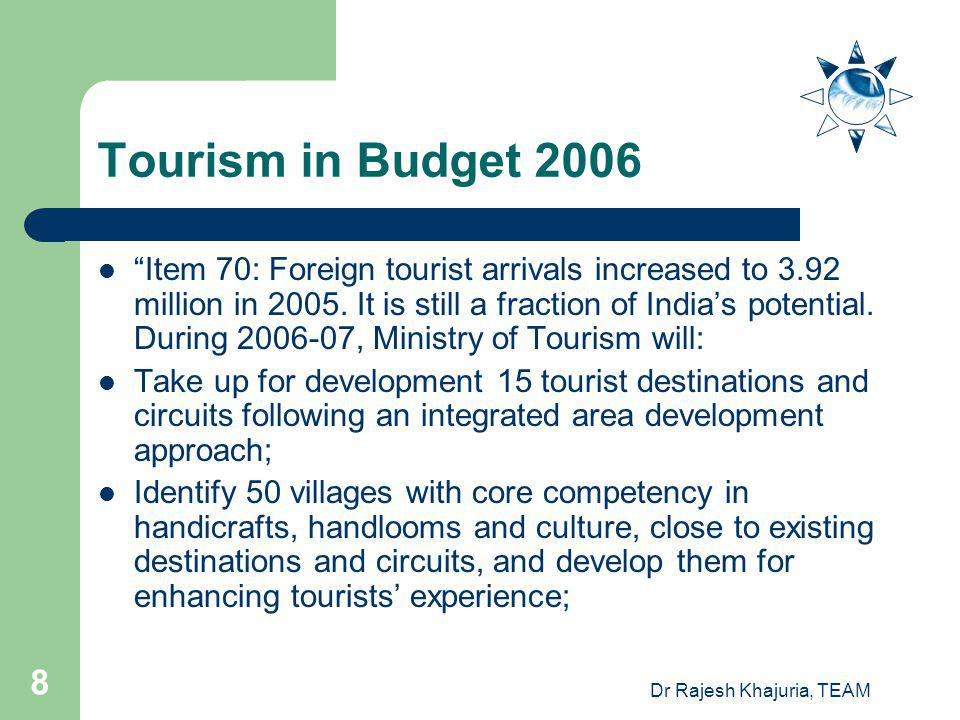 Dr Rajesh Khajuria, TEAM 8 Tourism in Budget 2006 Item 70: Foreign tourist arrivals increased to 3.92 million in 2005.
