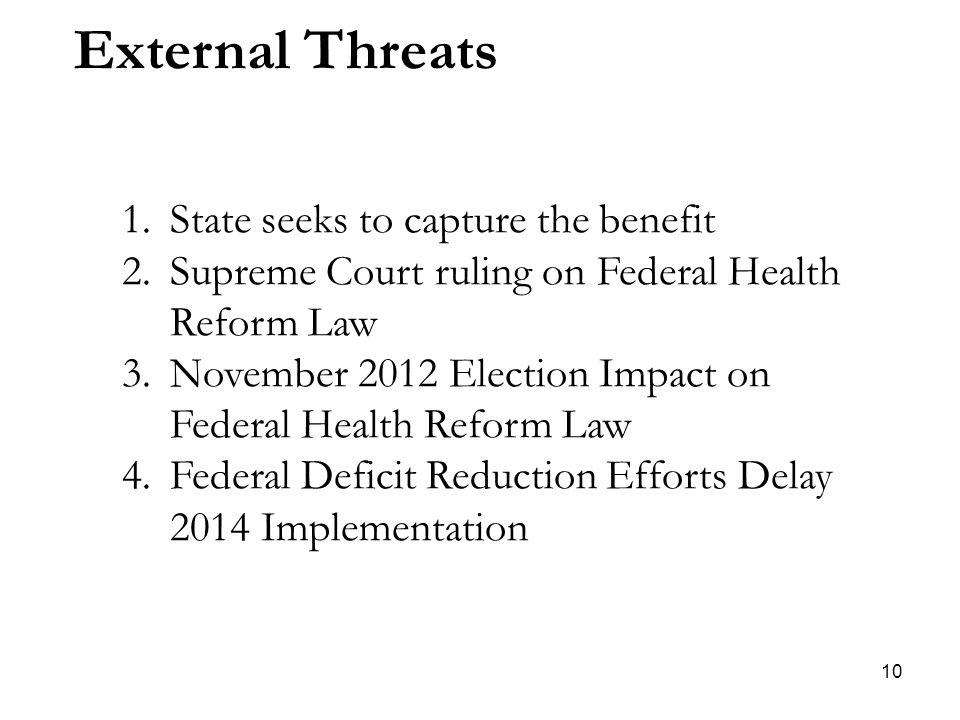 10 External Threats 1.State seeks to capture the benefit 2.Supreme Court ruling on Federal Health Reform Law 3.November 2012 Election Impact on Federal Health Reform Law 4.Federal Deficit Reduction Efforts Delay 2014 Implementation