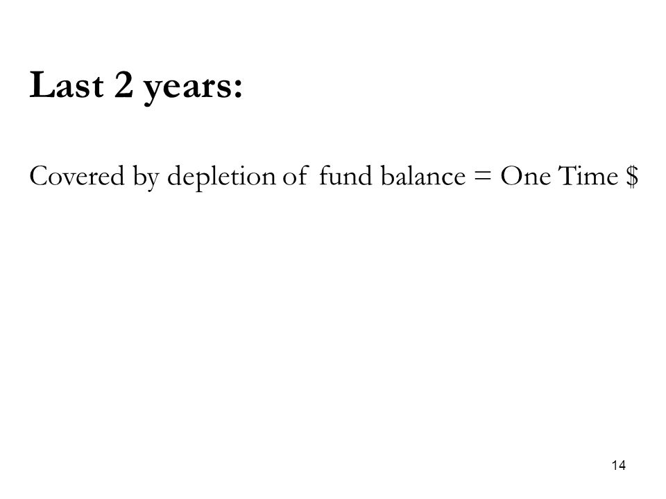 14 Last 2 years: Covered by depletion of fund balance = One Time $
