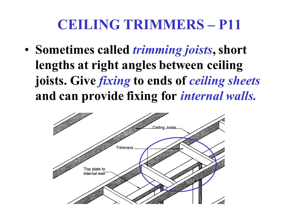 HANGING BEAMS – P12 These provide support to the ceiling joists mid-span, must be blocked at ends and if large sections may need to be strapped