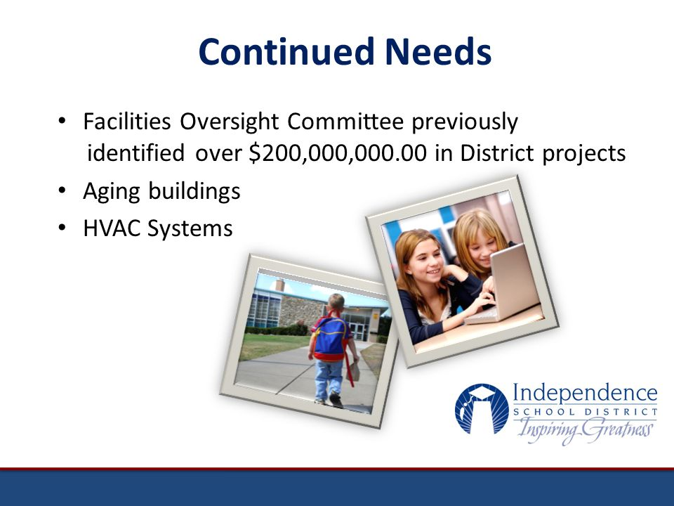 Facilities Oversight Committee previously identified over $200,000,000.00 in District projects Aging buildings HVAC Systems Continued Needs