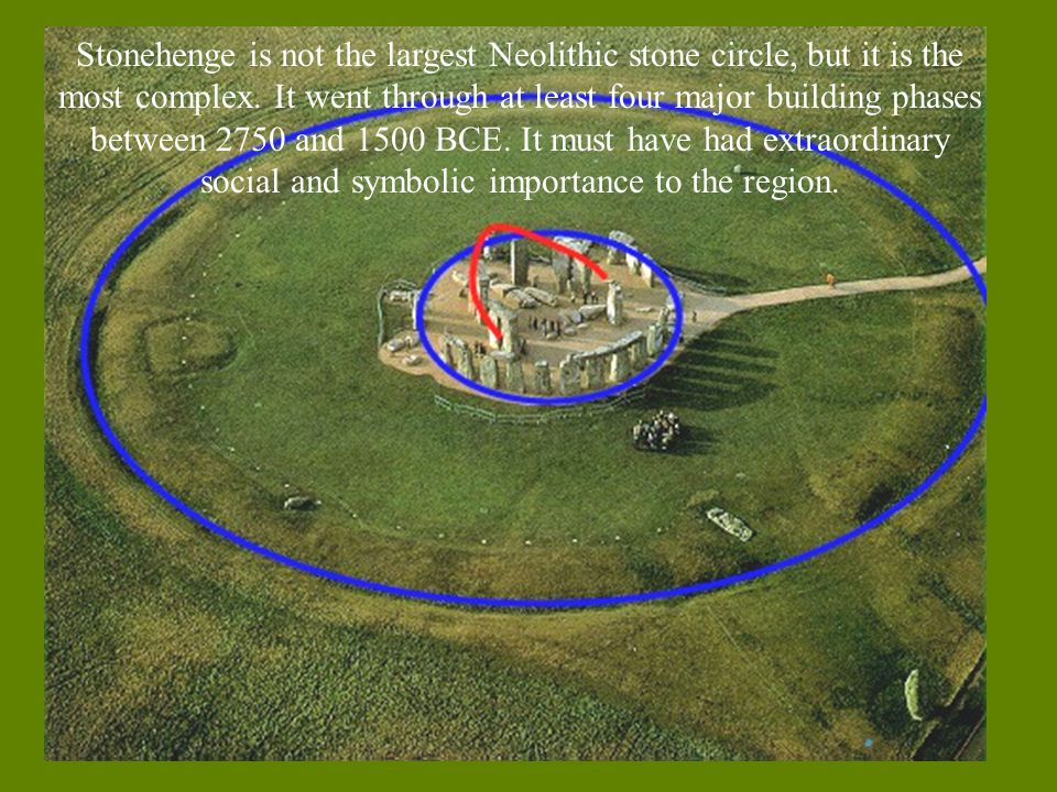 Stonehenge is not the largest Neolithic stone circle, but it is the most complex. It went through at least four major building phases between 2750 and