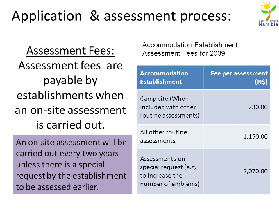 Assessment Fees: Assessment fees are payable by establishments when an on-site assessment is carried out.