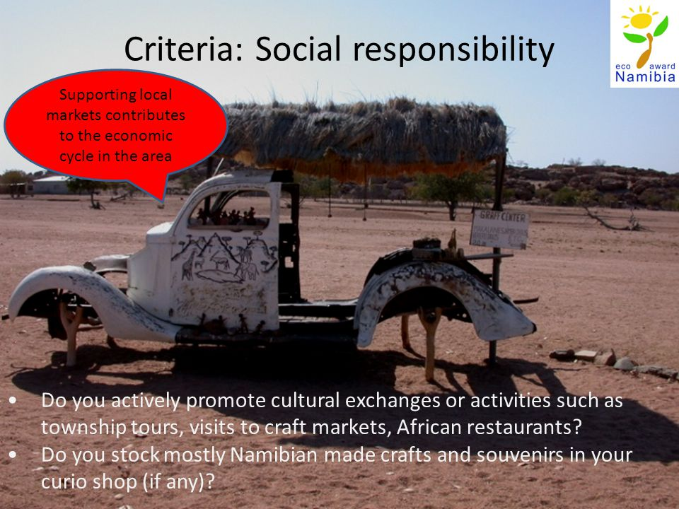 Criteria: Social responsibility Do you actively promote cultural exchanges or activities such as township tours, visits to craft markets, African restaurants.