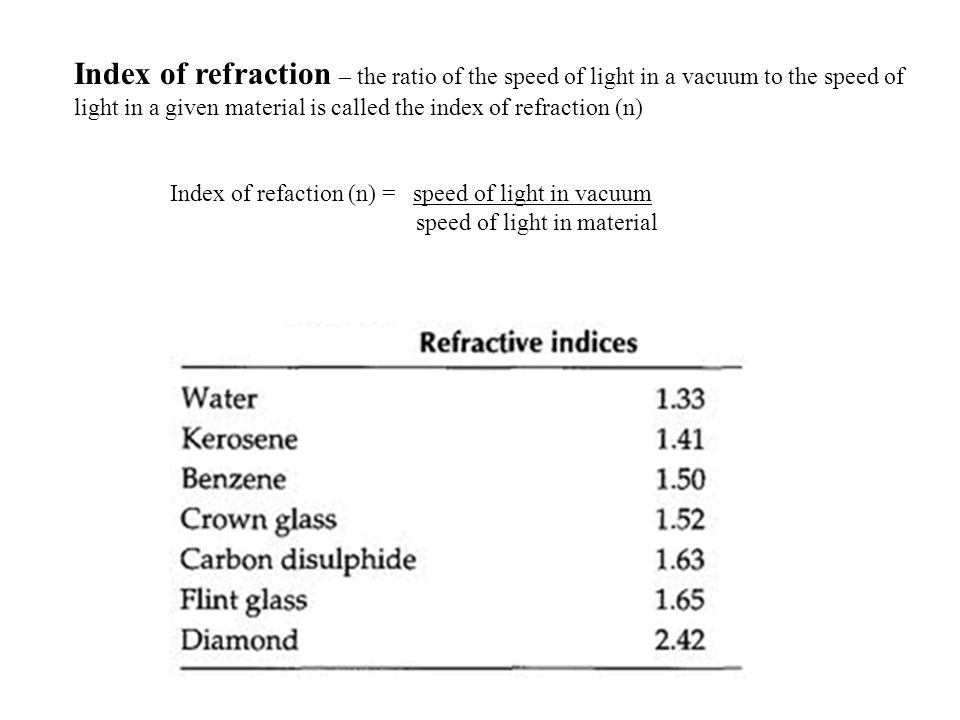 Index of refraction – the ratio of the speed of light in a vacuum to the speed of light in a given material is called the index of refraction (n) Index of refaction (n) = speed of light in vacuum speed of light in material