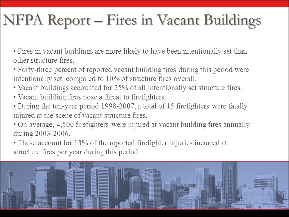 Fires in vacant buildings are more likely to have been intentionally set than other structure fires. Forty-three percent of reported vacant building f