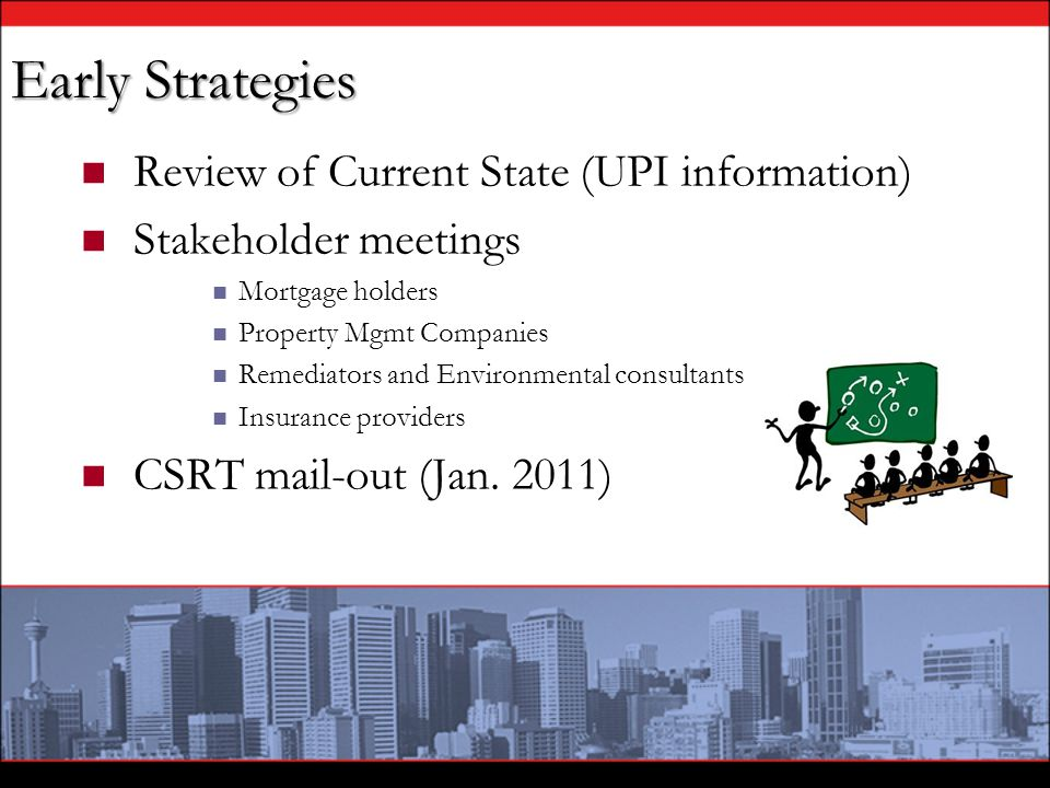 Early Strategies Review of Current State (UPI information) Stakeholder meetings Mortgage holders Property Mgmt Companies Remediators and Environmental