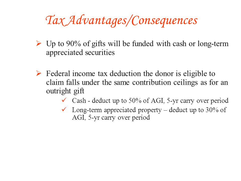 Up to 90% of gifts will be funded with cash or long-term appreciated securities Federal income tax deduction the donor is eligible to claim falls under the same contribution ceilings as for an outright gift Cash - deduct up to 50% of AGI, 5-yr carry over period Long-term appreciated property – deduct up to 30% of AGI, 5-yr carry over period Tax Advantages/Consequences