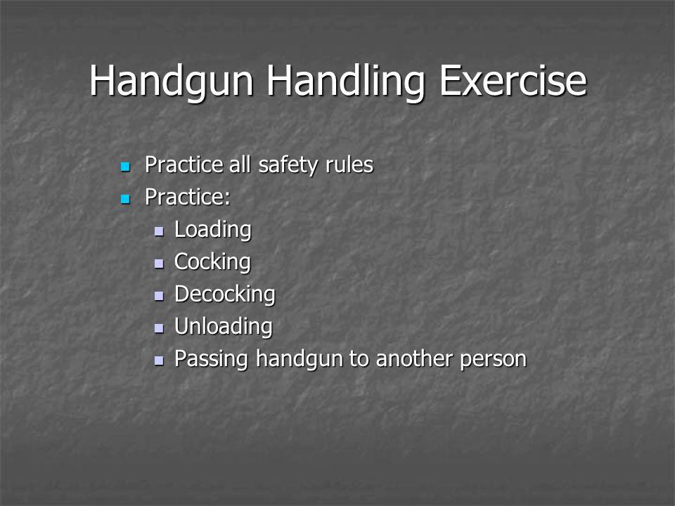 Handgun Handling Exercise Practice all safety rules Practice all safety rules Practice: Practice: Loading Loading Cocking Cocking Decocking Decocking