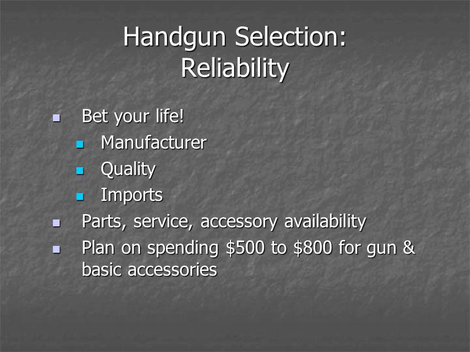 Handgun Selection: Reliability Bet your life. Bet your life.