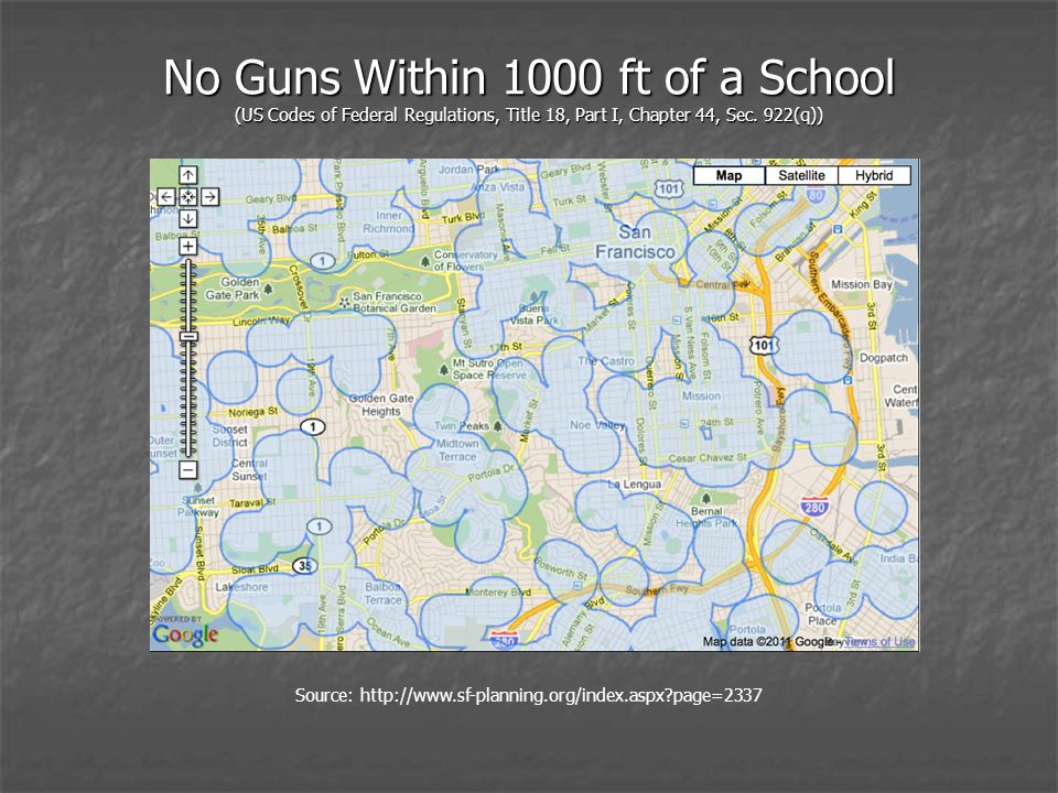 No Guns Within 1000 ft of a School (US Codes of Federal Regulations, Title 18, Part I, Chapter 44, Sec.