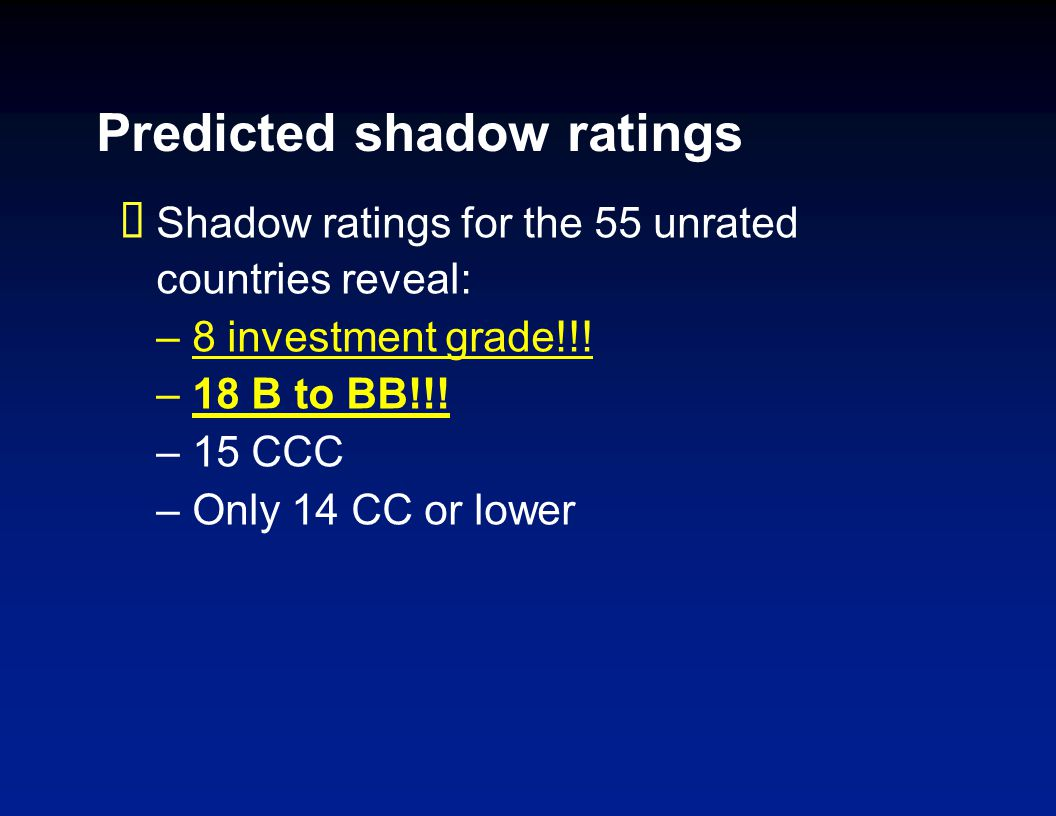 Predicted shadow ratings Shadow ratings for the 55 unrated countries reveal: –8 investment grade!!! –18 B to BB!!! –15 CCC –Only 14 CC or lower