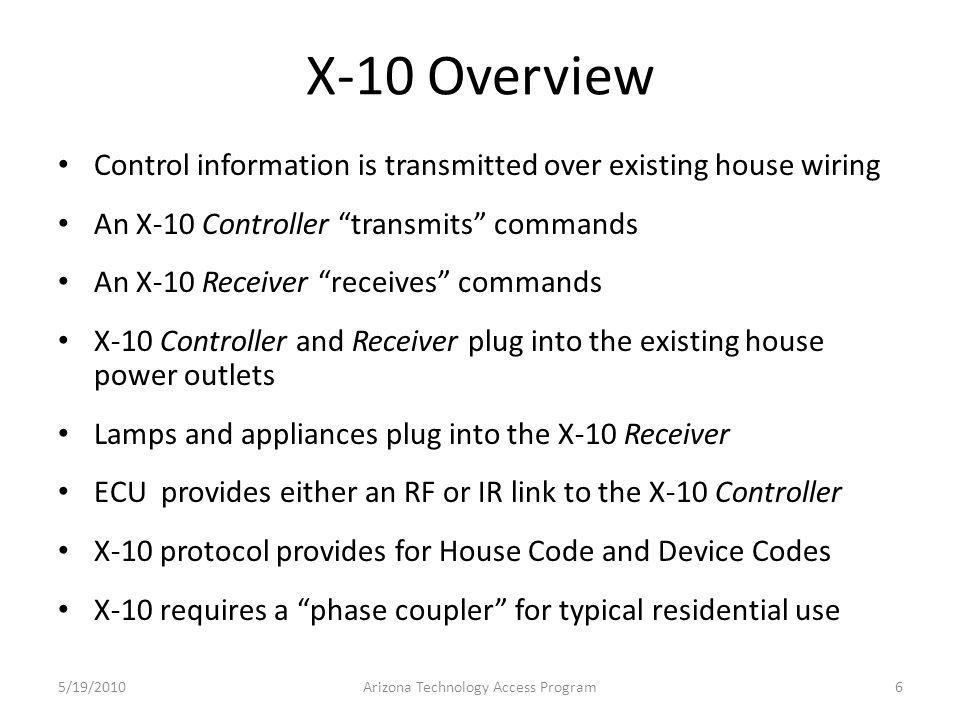 X-10 Controller and Receiver 5/19/2010Arizona Technology Access Program7 X-10 protocol transmitted over existing house wiring X-10 ReceiverX-10 Controller RF link to ECU Lamp plugged into X-10 Receiver House Code Unit Code House Code
