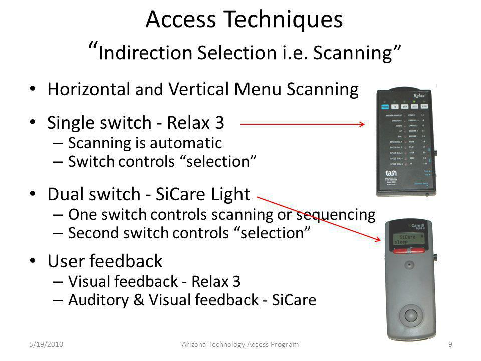 SiCare Light II Speaker Dependent Voice Recognition Dual Switch Scanning Auditory and visual feedback IR Control of Audio/Video Equipment IR – X10 for power line appliance control 5/19/201020Arizona Technology Access Program