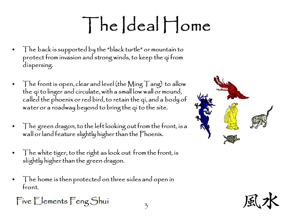 3 The Ideal Home The back is supported by the black turtle or mountain to protect from invasion and strong winds, to keep the qi from dispersing.