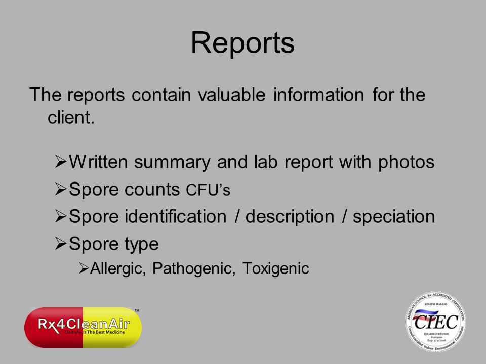 Reports The reports contain valuable information for the client.