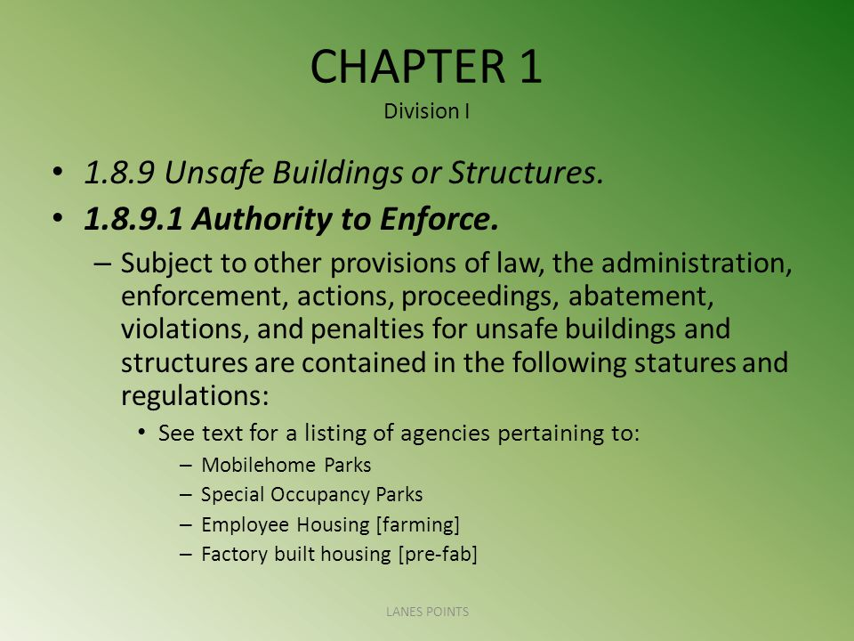 CHAPTER 1 Division I Unsafe Buildings or Structures.