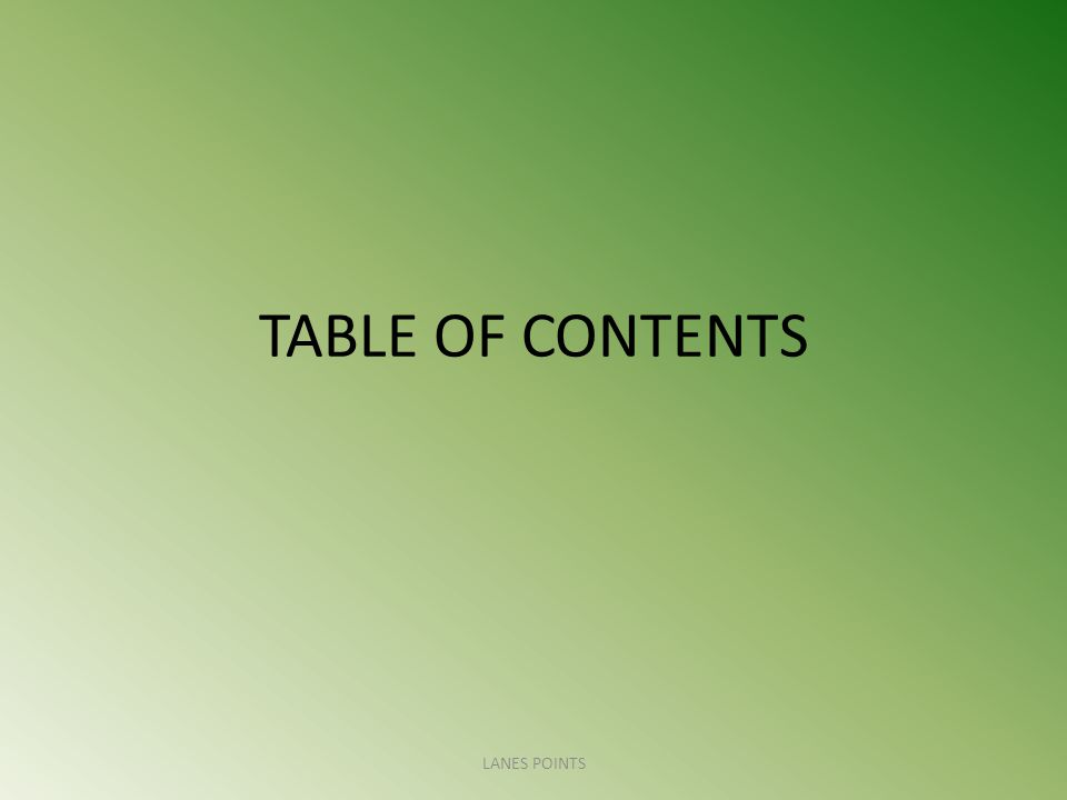 TABLE OF CONTENTS LANES POINTS