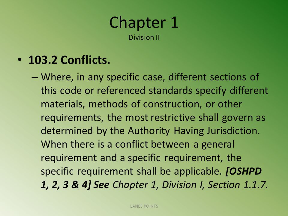 Chapter 1 Division II Conflicts.