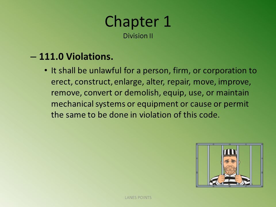 Chapter 1 Division II – Violations.