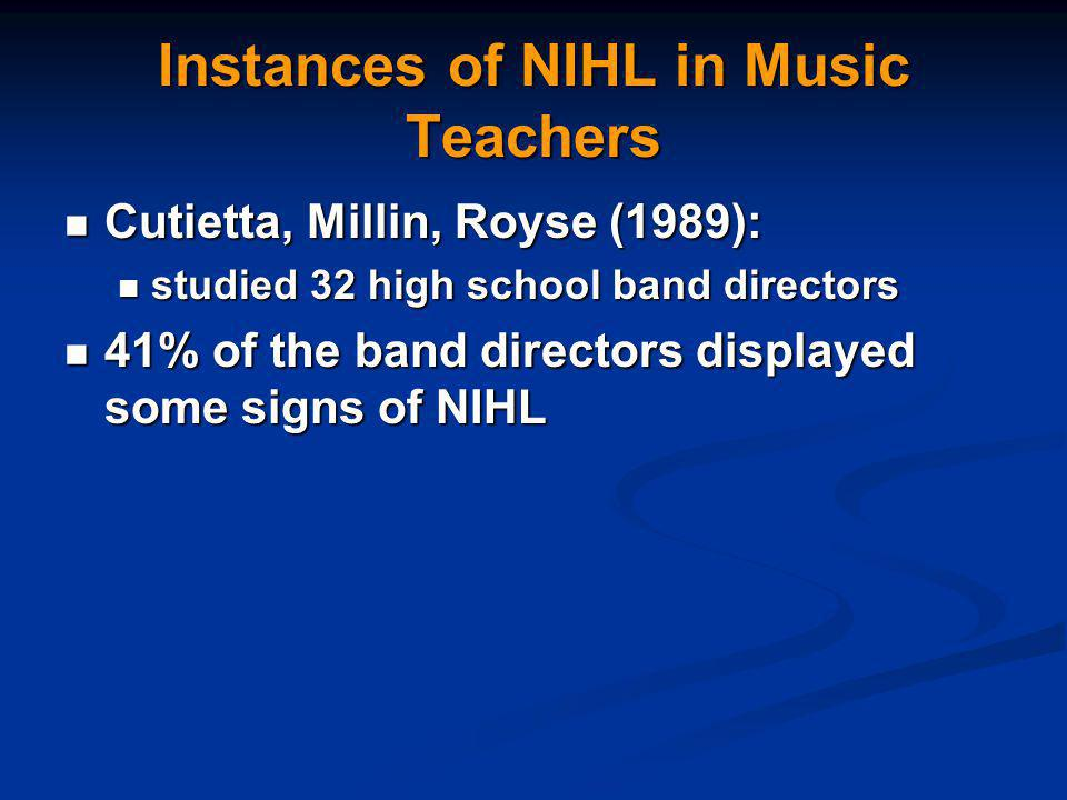 Instances of NIHL in Music Teachers Cutietta, Millin, Royse (1989): Cutietta, Millin, Royse (1989): studied 32 high school band directors studied 32 high school band directors 41% of the band directors displayed some signs of NIHL 41% of the band directors displayed some signs of NIHL