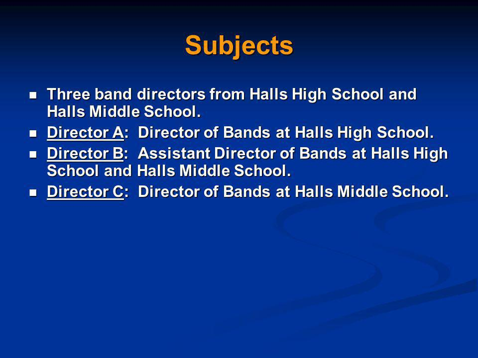Subjects Three band directors from Halls High School and Halls Middle School.