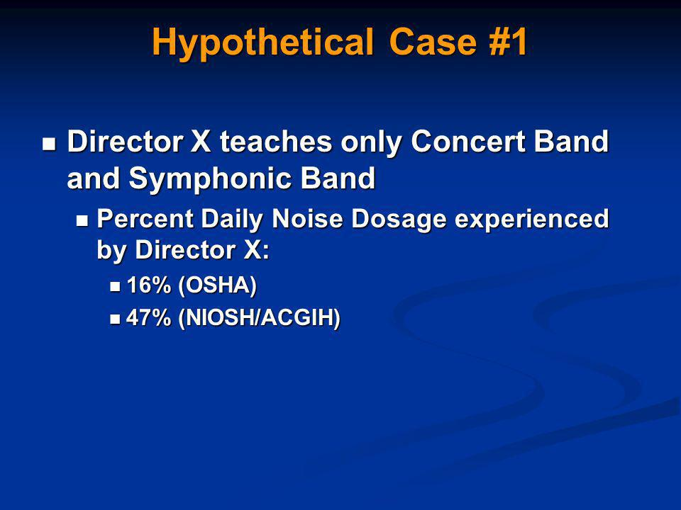 Hypothetical Case #1 Director X teaches only Concert Band and Symphonic Band Director X teaches only Concert Band and Symphonic Band Percent Daily Noise Dosage experienced by Director X: Percent Daily Noise Dosage experienced by Director X: 16% (OSHA) 16% (OSHA) 47% (NIOSH/ACGIH) 47% (NIOSH/ACGIH)