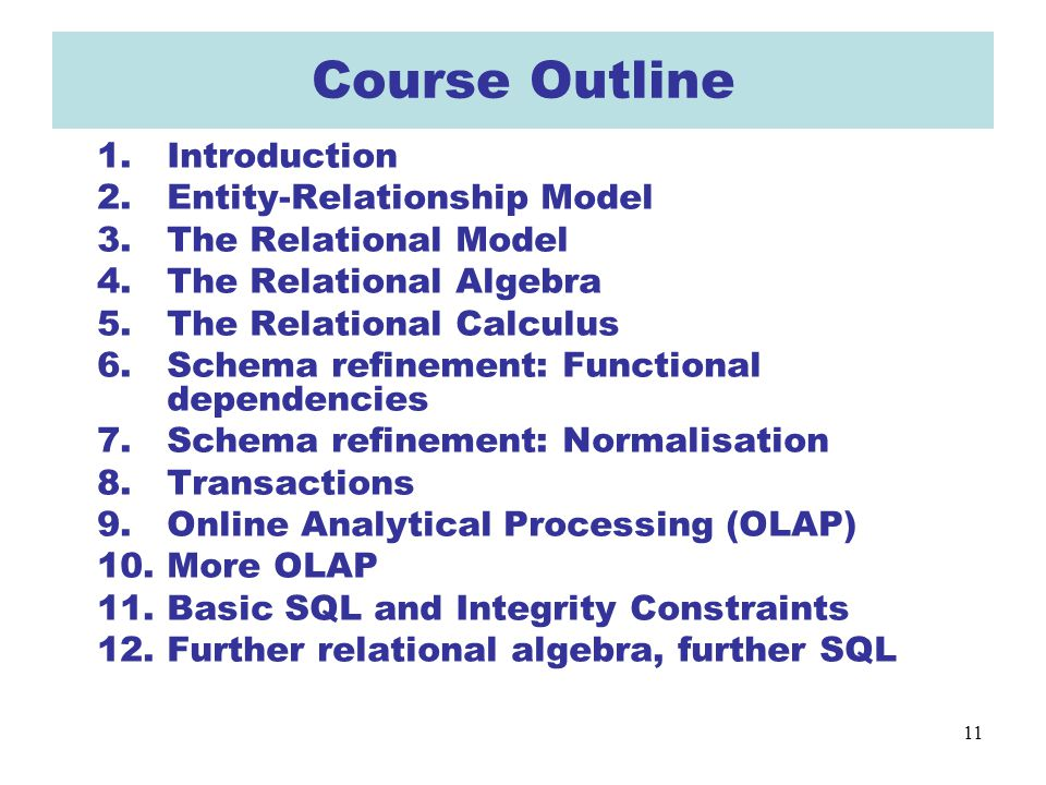11 Course Outline 1.Introduction 2.Entity-Relationship Model 3.The Relational Model 4.The Relational Algebra 5.The Relational Calculus 6.Schema refine